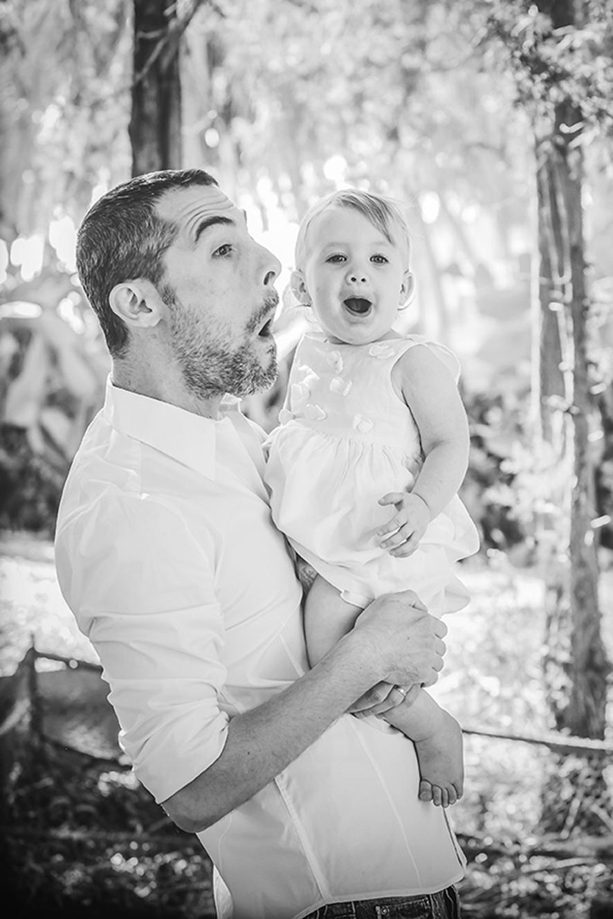 צילום אבא ובת בטבע שחור לבן
